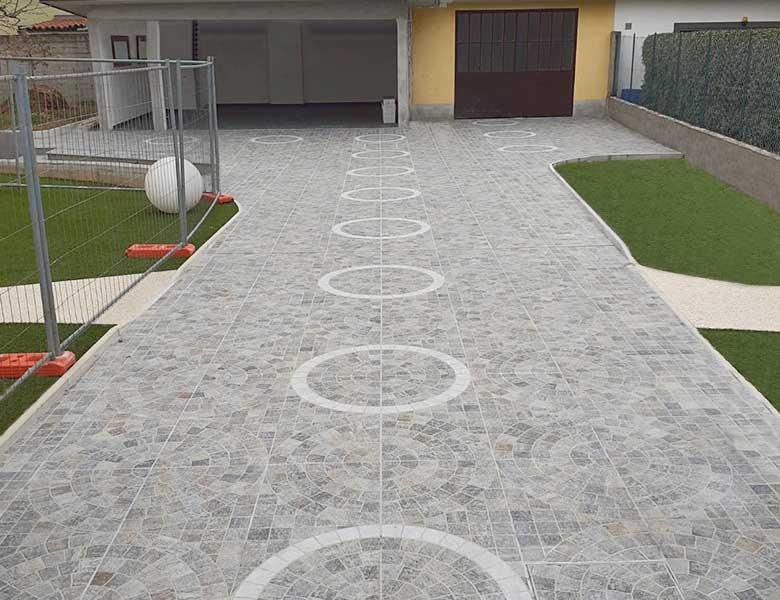 Pavimento in pietra sinterizzata abitazione con cortile bergamo